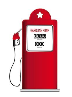 Rode benzinepomp die over witte vector wordt geïsoleerd als achtergrond