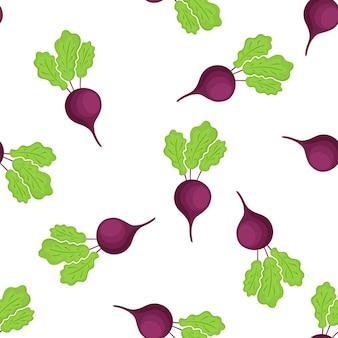 Rode biet naadloze patroon. biologische vegetarische gerechten. gebruikt voor designoppervlakken, stoffen, textiel, verpakkingspapier.
