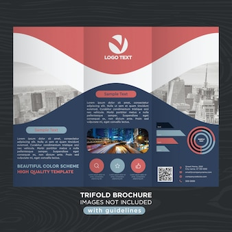 Rode blauwe krommen business trifold brochure sjabloon