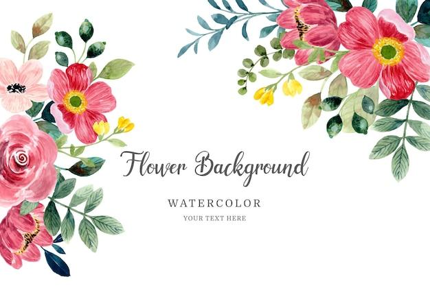 Rode bloem frame achtergrond met aquarel