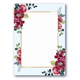 Rode bloem frame met aquarel