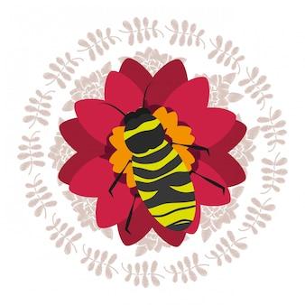 Rode bloem met bijen natuurlijke decoratie ronde frame bladeren