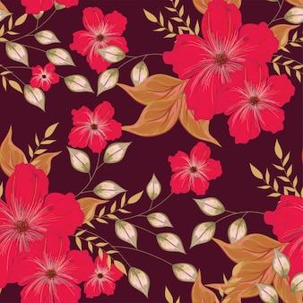 Rode bloem met bladeren die op bruin naadloos patroon worden verfraaid.