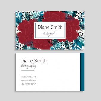 Rode bloem visitekaartjes sjabloon