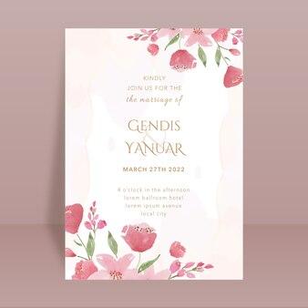 Rode bloemen aquarel bruiloft kaart met splash
