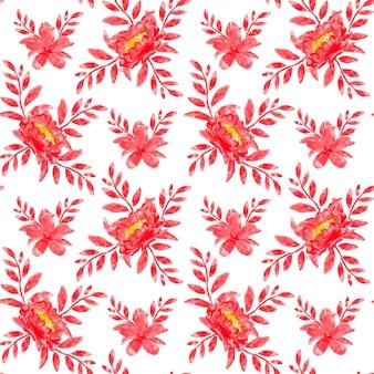 Rode bloemen aquarel naadloze patroon
