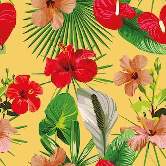 Rode bloemen laat gele naadloze patroon