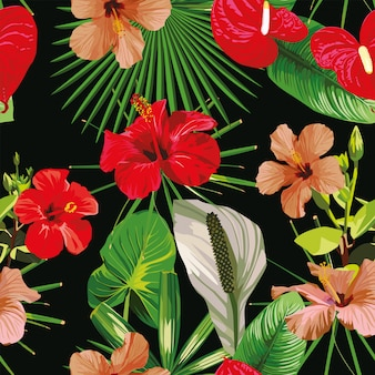 Rode bloemen laat zwarte naadloze patroon