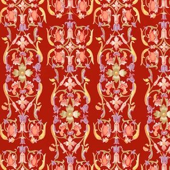Rode bloemen naadloze patroonachtergrond Gratis Vector