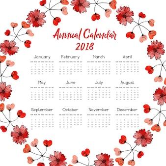 Rode bloemenkrans kalender 2018