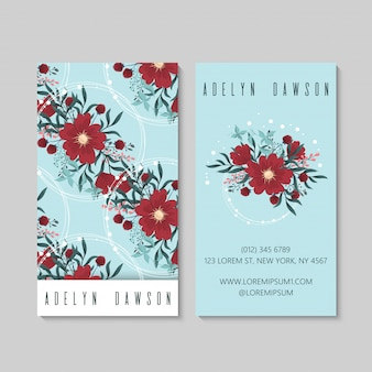 Rode bloemvisitekaartjes lichtblauw
