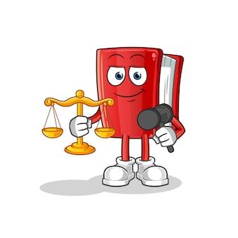 Rode boek advocaat cartoon mascotte