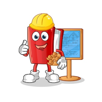 Rode boek architect cartoon mascotte