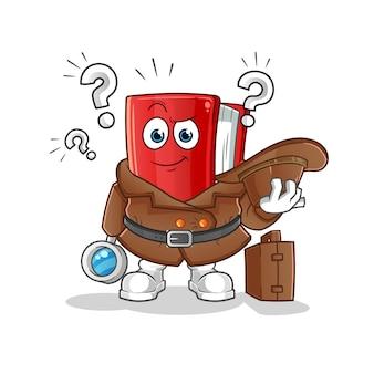 Rode boek detective cartoon mascotte