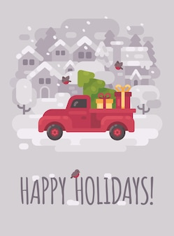 Rode boerderij vrachtwagen met een kerstboom in een winter dorp. kerst wenskaart plat ziek