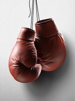 Rode bokshandschoenen die in de lucht hangen, 3d illustratie