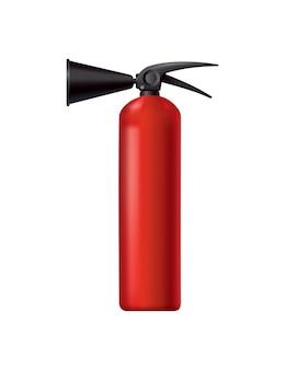 Rode brandblusser. geïsoleerde draagbare brandbestrijdingseenheid. brandweerhulpmiddel voor aandacht voor vlambestrijding. draagbare brandblusapparatuur. vectorillustratie van veiligheidsuitrusting.