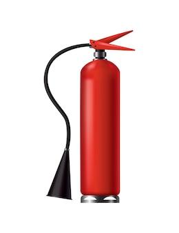 Rode brandblusser. geïsoleerde draagbare brandweereenheid met slang. brandweerhulpmiddel voor aandacht voor vlambestrijding. draagbare brandblusapparatuur