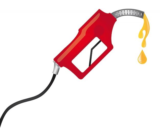 Rode brandstofpomp met gele regendruppels vectorillustratie