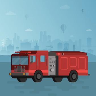 Rode brandvrachtwagen op blauwe cityscape vectorillustratie