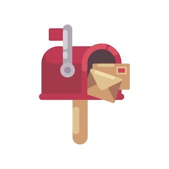 Rode brievenbus met brieven vlakke illustratie. kerst postvak pictogram