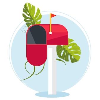 Rode brievenbus op een stokje. communicatie tussen mensen. plaats voor enveloppen, correspondentie. het werk van het postkantoor. verzend mail. vector illustratie
