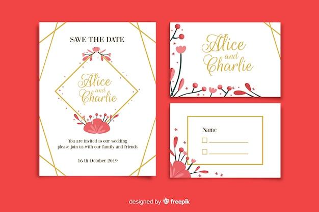 Rode bruiloft briefpapier sjabloon in plat ontwerp