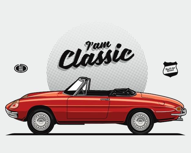 Rode cabriolet klassieke auto