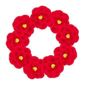 Rode camellia bloem krans