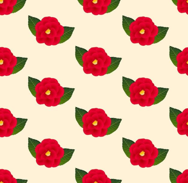 Rode camellia bloem naadloos op beige ivoor achtergrond
