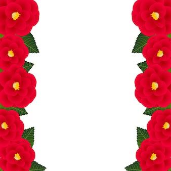 Rode camellia bloemkaderrand