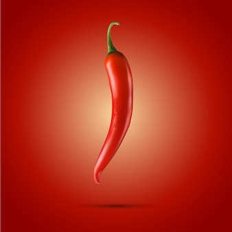 Rode chili. 3d realistisch - geïsoleerd op rode achtergrond
