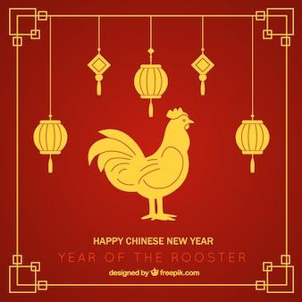Rode chinese nieuwjaar achtergrond met lantaarns en gouden haan