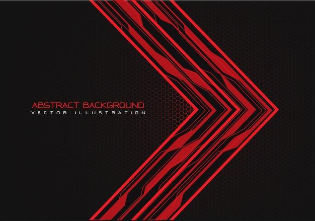 Rode circuit pijlrichting met hexagon mesh achtergrond.