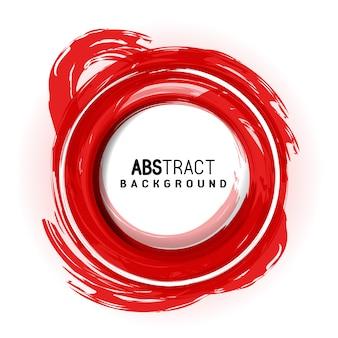 Rode cirkel artistieke abstracte borstelslag achtergrond met ronde plaats voor tekst