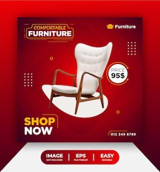 Rode comfortabele meubelstoel verkoop sociale media postsjabloon