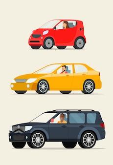 Rode compacte stadsauto rode sedan auto en zwarte suv auto platte vectorillustratie