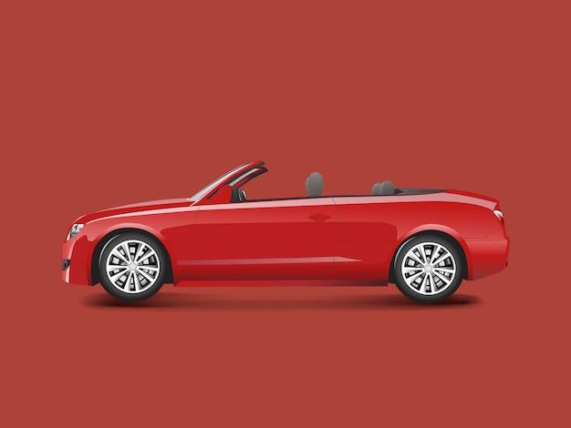 Rode convertibel in een rode achtergrond
