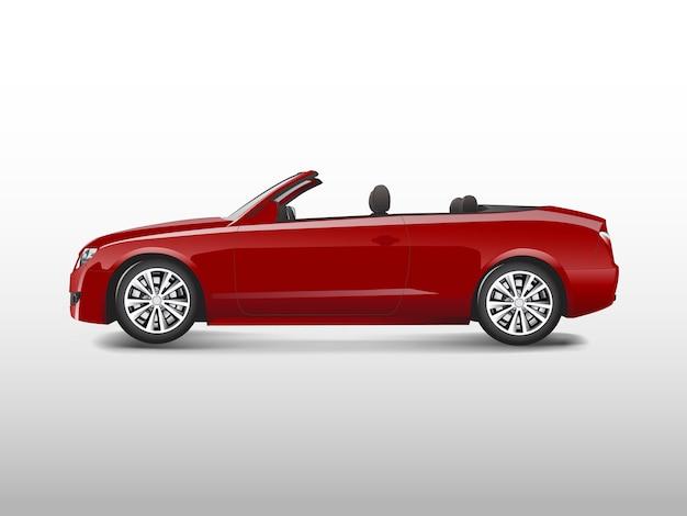Rode convertibele auto die op witte vector wordt geïsoleerd