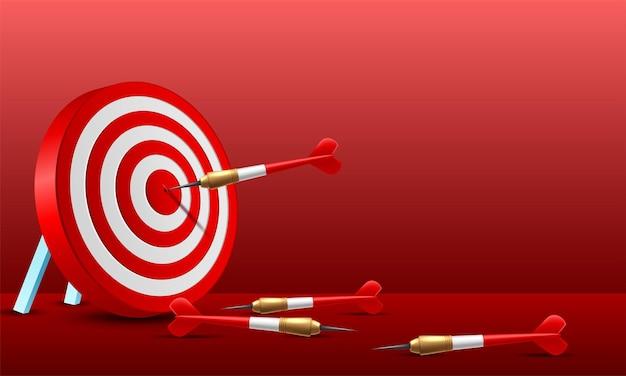 Rode dartpijl die in het doelcentrum van het dartbord raakt