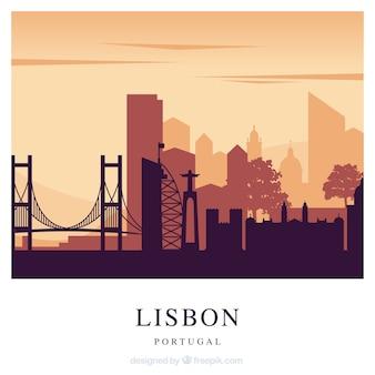 Rode de horizonachtergrond van lissabon
