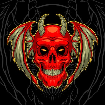 Rode demon schedel