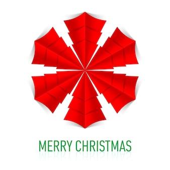 Rode document sneeuwvlok op witte achtergrond. kerstkaart.