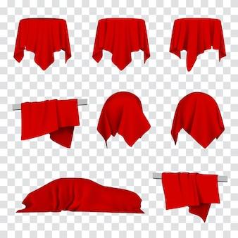 Rode doek bedekt auto, tafel en bal 3d realistische illustratie. feestelijke opening, onthulling, presentatie of promotieconcept