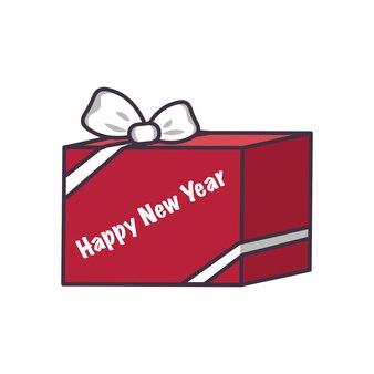 Rode doos met snoep en geschenken met strik. feestelijke decoratie voor nieuwjaar, kerst en wintervakanties