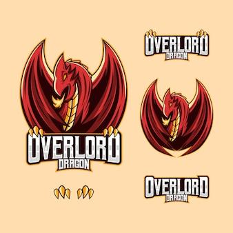 Rode draak kunst mascotte esport logo vectorillustratie