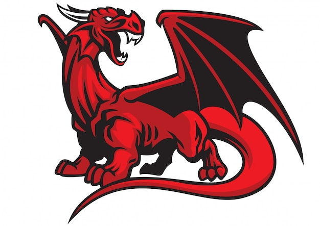 Rode draak mascotte