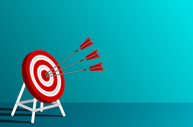 Rode drie pijlenpijltjes in de illustratie van de doelcirkel
