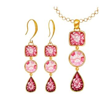 Rode druppel, vierkante, ronde kristallen edelsteen kralen met gouden element. aquarel tekenen gouden hanger en oorbellen. hand getrokken sieraden set.