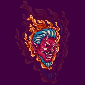 Rode duivel hoofd illustratie